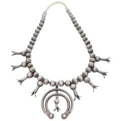 Navajo Silver Squash Blossom Necklace, circa 1910