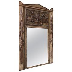 French Distressed Painted and Carved Wood Mirror