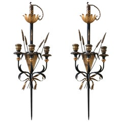 Pair of Romantic Sword and Wheat Motif Black and Gold Sconces