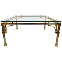 John Vesey Style Modern Mixed Brass & Chrome Metal Square Cocktail Table