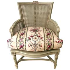 Superlatively Pretty Louis XVI Caned and Painted Bergere Chair