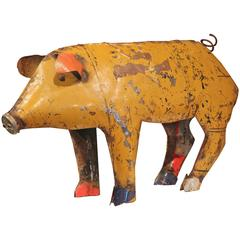 Large Vintage French Painted Tole Pig Made with Old Elements