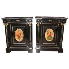 Pair of Antique French Ebonized Cabinets Painted Plaques Credenza Sideboard
