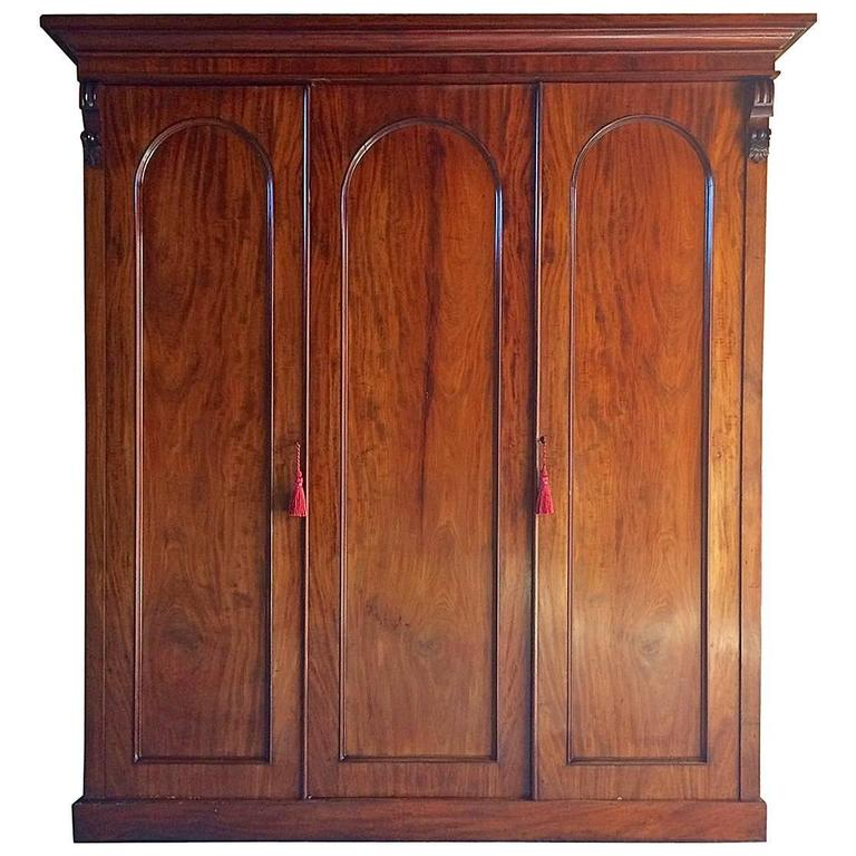 Antique Wardrobe Compactum Armoire Mahogany Victorian, 19th Century Large  For Sale