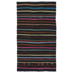 Vintage Turkish Kilim with Tribal Style, Flat-weave Striped Kilim Area Rug