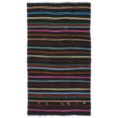 Vintage Turkish Kilim with Tribal Style, Flat-weave Striped Kilim Area Rug