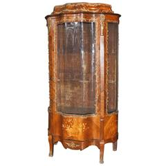 French Empire Antique Display Curio Cabinet Bijouterie Kingwood Inlay