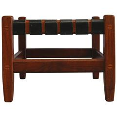 Walnut and Leather Strap Stool