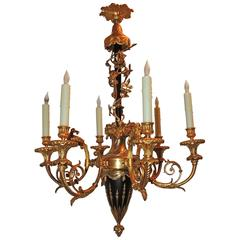 French Empire Neoclassical Six-Light Dore Bronze Goat Flower Chandelier