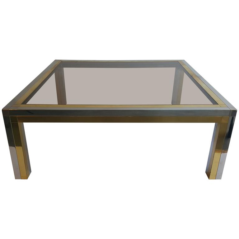 Chrome X Frame Coffee Table: Chrome And Brass Frame Coffee Table For Sale At 1stdibs