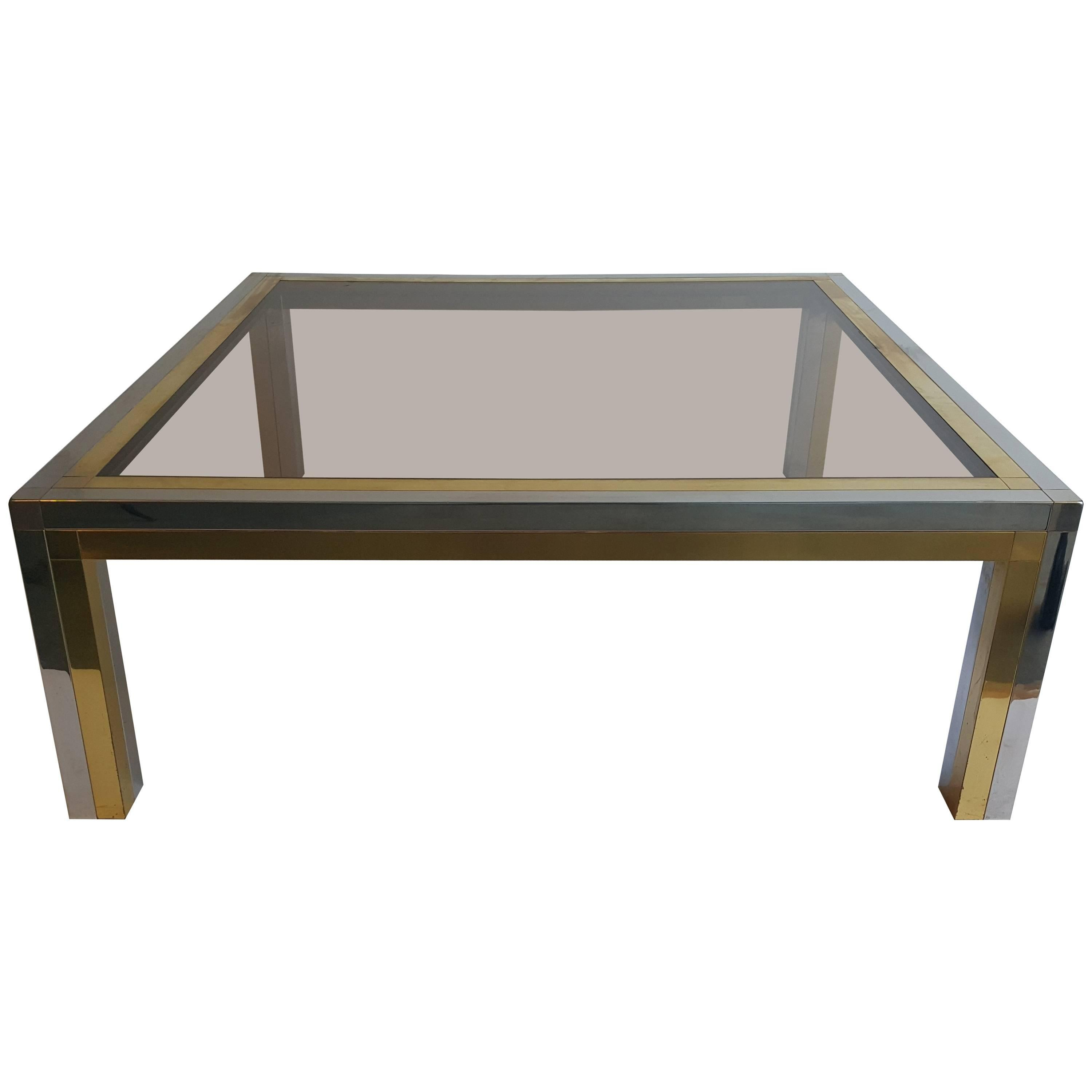 Brass And Chrome Coffee Table, Signed By Jean Charles For