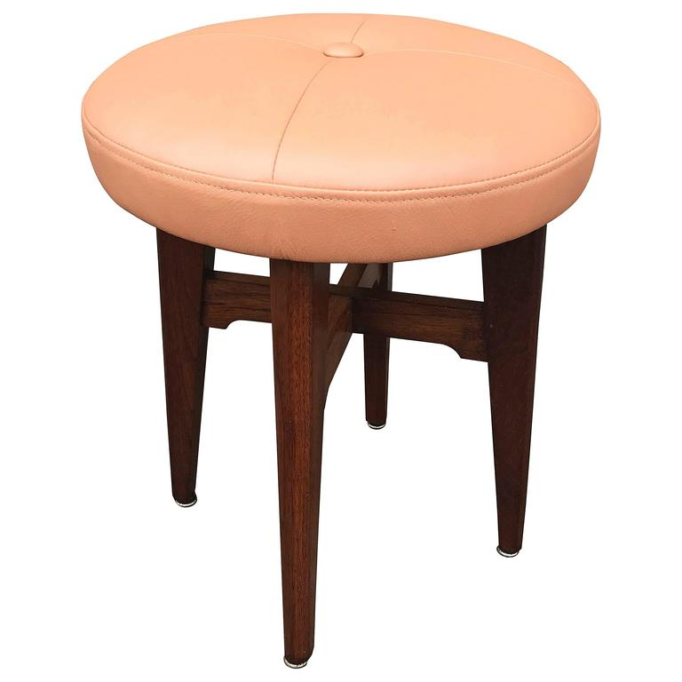 Mid Century Modern Peach Leather And Walnut Vanity Stool