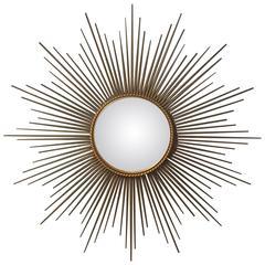 French Gilt Metal Sunburst or Starburst Mirror by Chaty Vallauris
