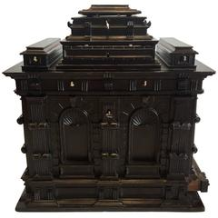 Spanish Baroque Wood Carved Ebonized Architectural Table Desk Top