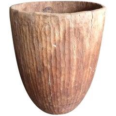 Hand-Carved Ecalyptus Wood Grain Collection Vessel