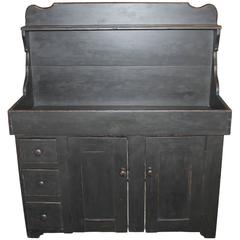 19th Century Lancaster County, Pennsylvania Black Painted High Back Dry Sink