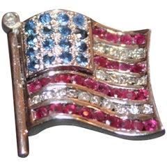 14-Karat White Gold and Gem Stones American Flag Pin