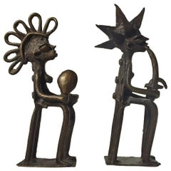 20th Century Tribal Male and Female African Naive Bronze Sculptures