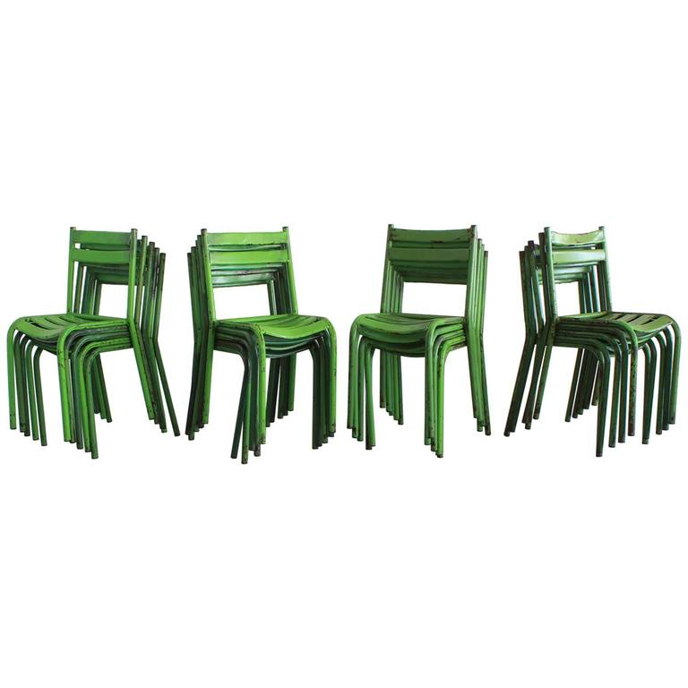 Set of 40 French Cafe Chairs For Sale