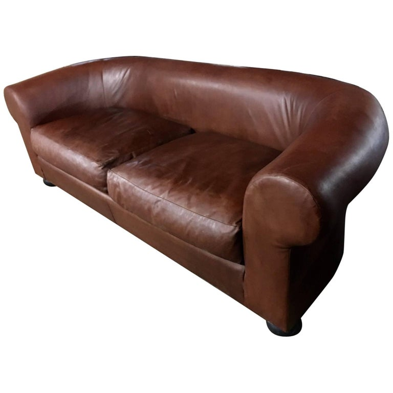 Large Ralph Lauren Brown Leather Modern Chesterfield Sofa with Rolled Arms For Sale