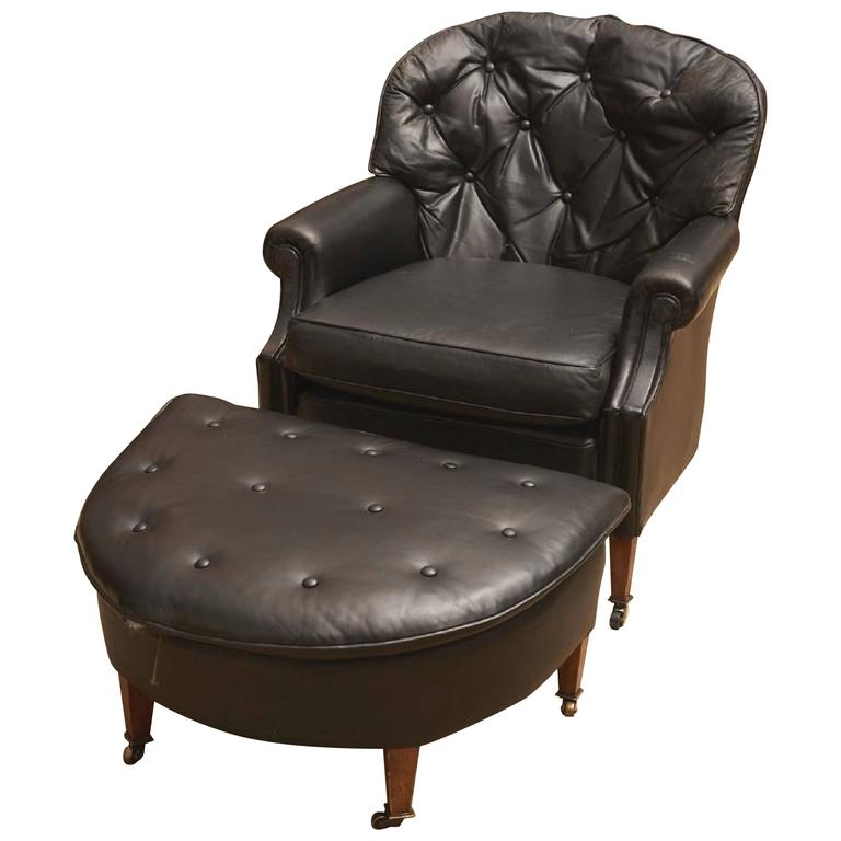 black leather chesterfield club chair and ottoman for sale at 1stdibs. Black Bedroom Furniture Sets. Home Design Ideas