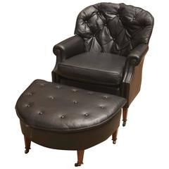 Black Leather Chesterfield Club Chair and Ottoman