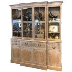 Georgian Style Whitewashed Breakfront or Bookcase