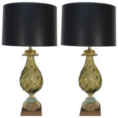Pair of Stunning Gold Murano Glass Lamps