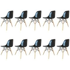 Ten Black Herman Miller Eames DSW Dining Chairs