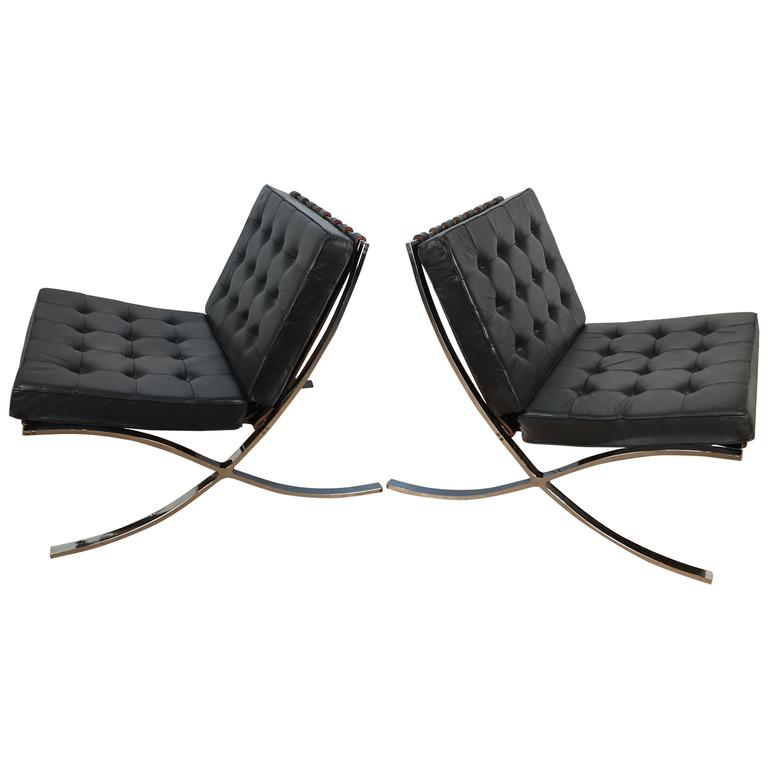 Pair of Original Black Leather Knoll & Mies Van Der Rohe Barcelona Chairs