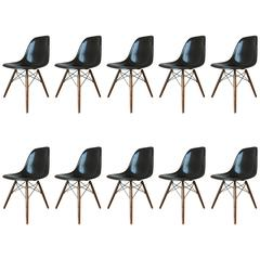 6-10 Black Herman Miller Eames DSW Dining Chairs