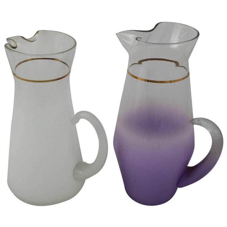 Blendo Cocktail Pitchers One White One Lavender West Virginia Glass, Mid-Century For Sale