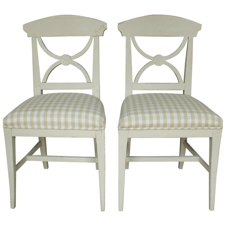 19th Century Swedish Pair of Gustavian Style Side Chairs For Sale