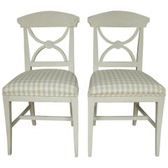 19th Century Swedish Pair of Gustavian Style Side Chairs