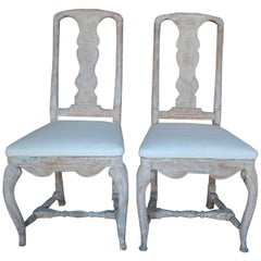 18th Century Pair of Swedish Rococo Period Side Chairs