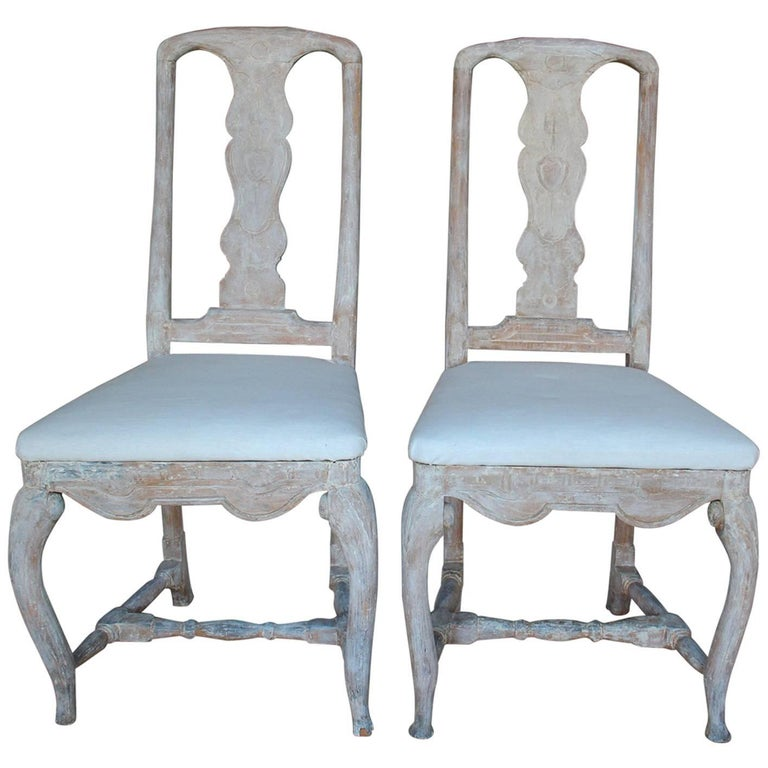 18th Century Pair of Swedish Rococo Period Side Chairs For Sale