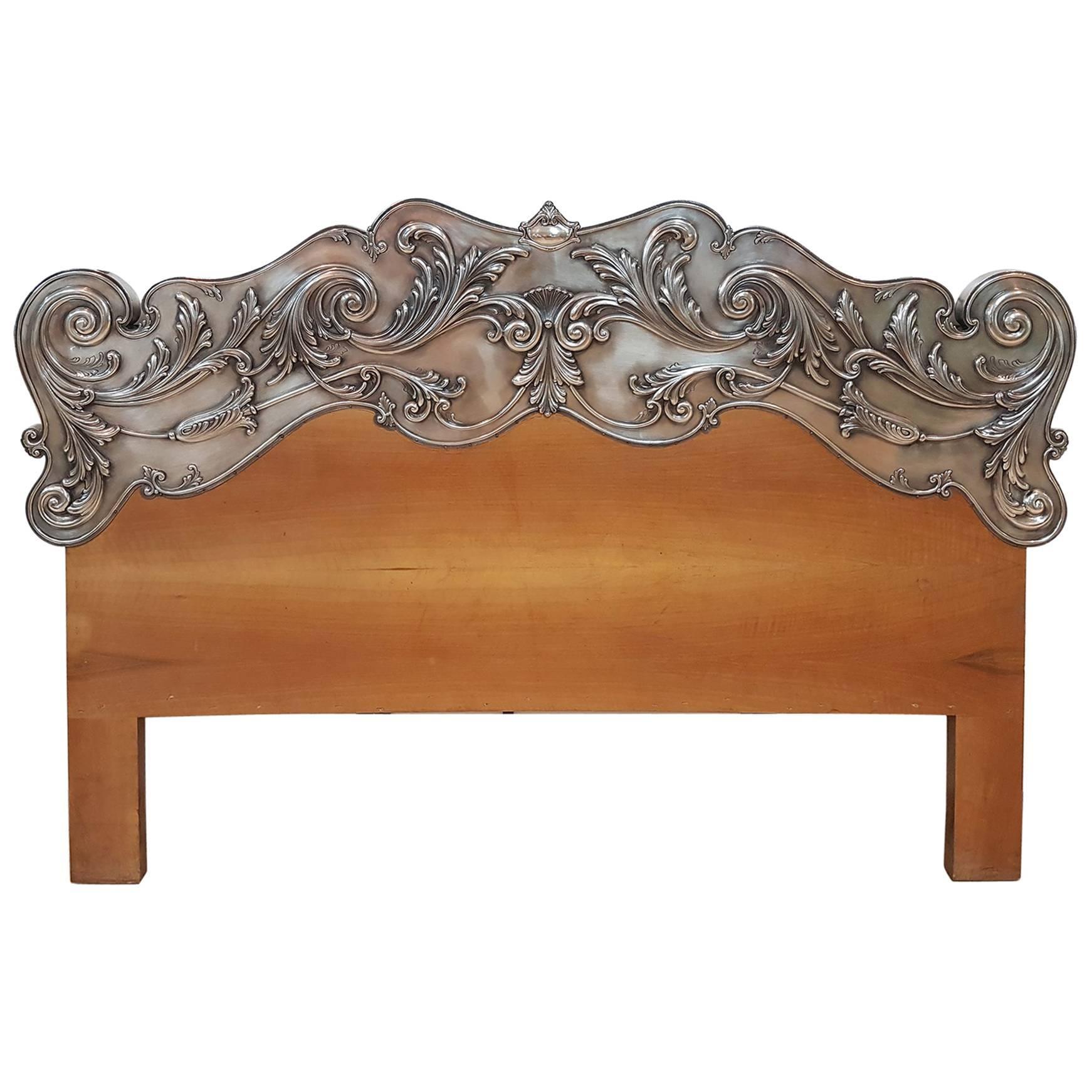 20th Century Italian Sterling Silver Head Bed, baroque barocco revival