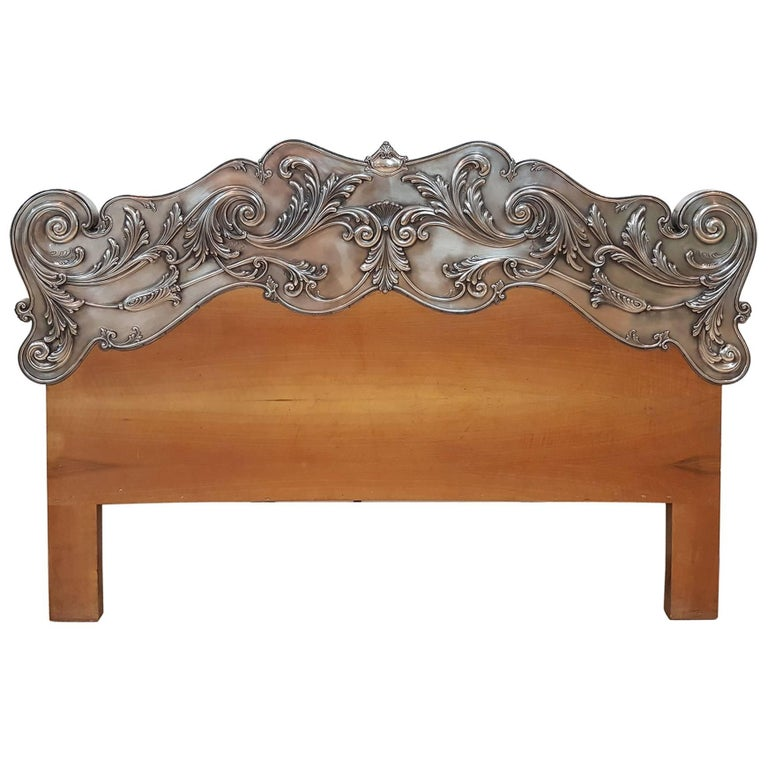 20th Century Italian Sterling Silver Head Bed, baroque barocco revival For Sale