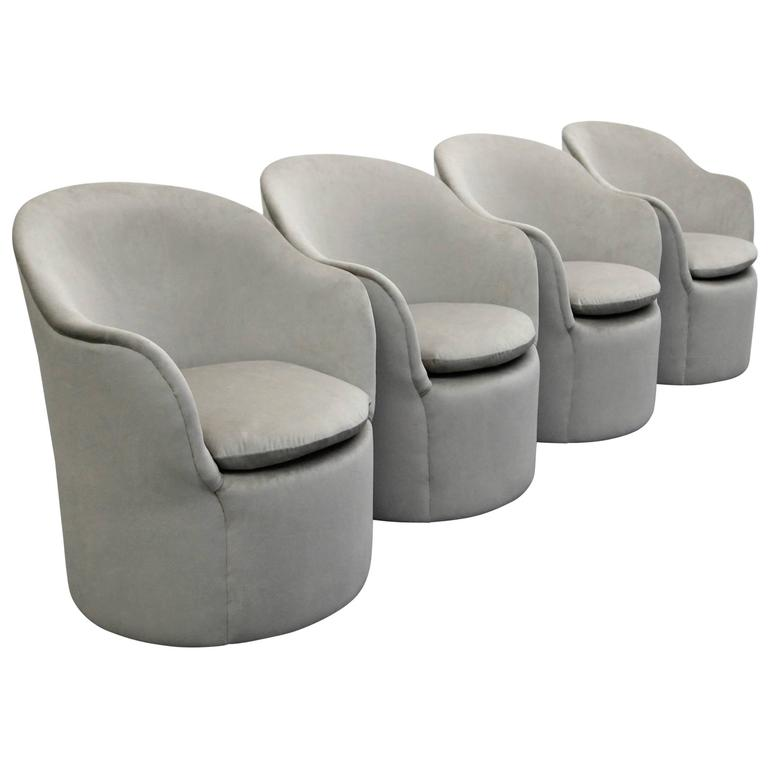 Set of Four Mid-Century Tulip Side Chairs by John Saladino for Dunbar 1