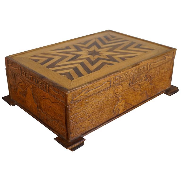 Hand-Carved Dutch Folk Art Box Depicting the Sower Mower Thresher Grinder