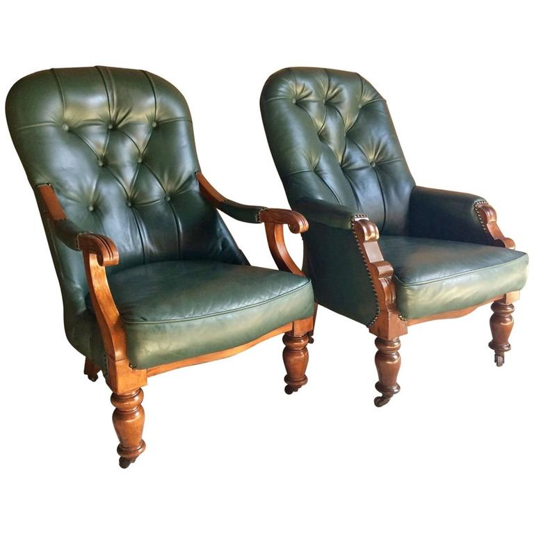 Antique Leather Armchairs Pair Library Chairs Victorian Mahogany Button  Back For Sale - Antique Leather Armchairs Pair Library Chairs Victorian Mahogany