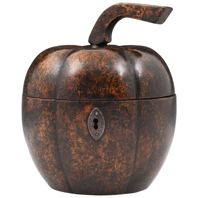 Rare Antique Treen Squash Pumpkin Fruit Tea Caddy For Sale