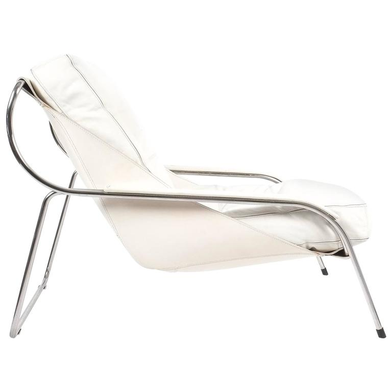Marco Zanuso Maggiolina White Leather Chair by Zanotta, 1947 For Sale