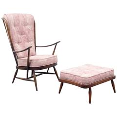 1950s Armchair and Ottoman, L. Ercolani for Ercol, New Upholstery
