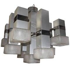 Sculpture Sciolari Chandelier Cubic Aluminium Design, 1970s