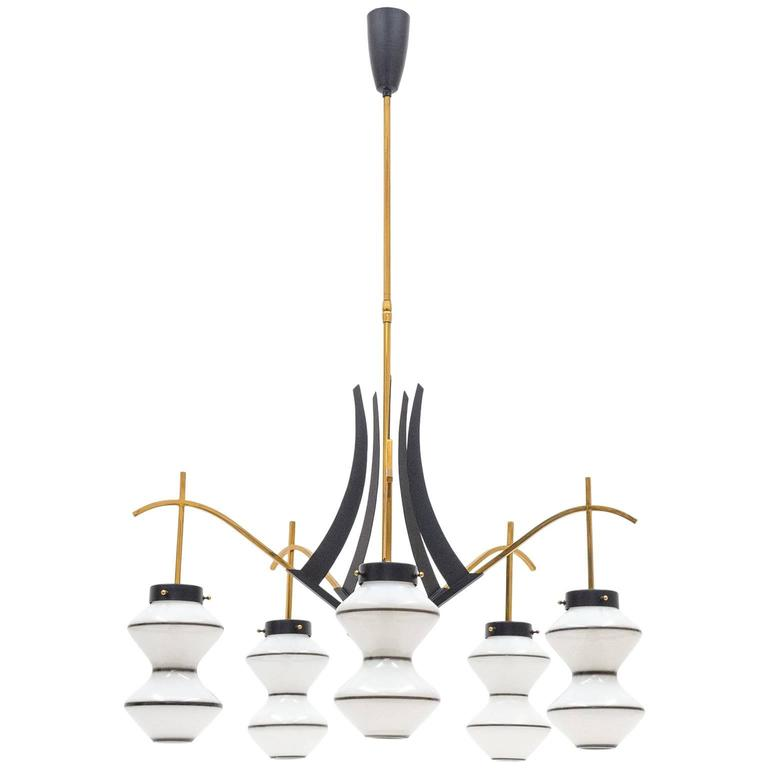 Unique Italian Brass and Enameled Glass Chandelier, 1950s