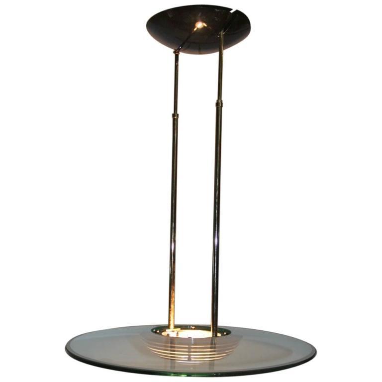 Glass Disc Chandelier Italian Design 1980s Minimal Lighting Martini Design