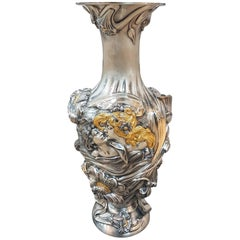 20th Century Art Nouveau Revival Italian Sterling Silver Vase