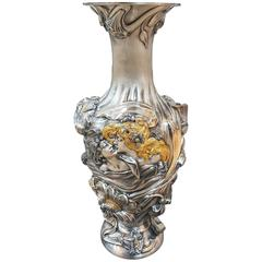 20th Century Art Nouveau Revival Italian Sterling Silver Vase