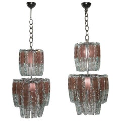 Pair of Chandelier Curved Glass, 1970s,crystall,steel, Italian Design Chipped